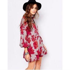 Free People Shake It Mini Dress Sand Combo |Floral